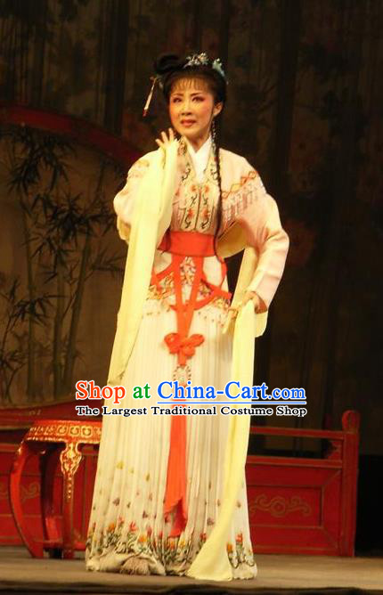 Chinese Shaoxing Opera Female Role Costumes The Pearl Tower Apparels Yue Opera Diva Garment Actress Rich Lady Dress and Hair Jewelry