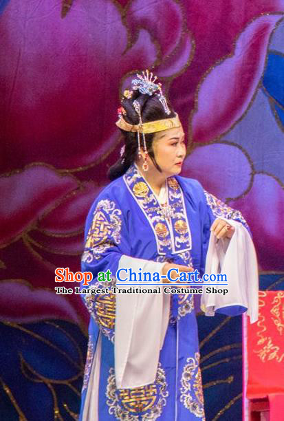 Chinese Shaoxing Opera Elderly Female Costumes The Pearl Tower Apparels Yue Opera Garment Rich Dame Blue Cape and Headdress