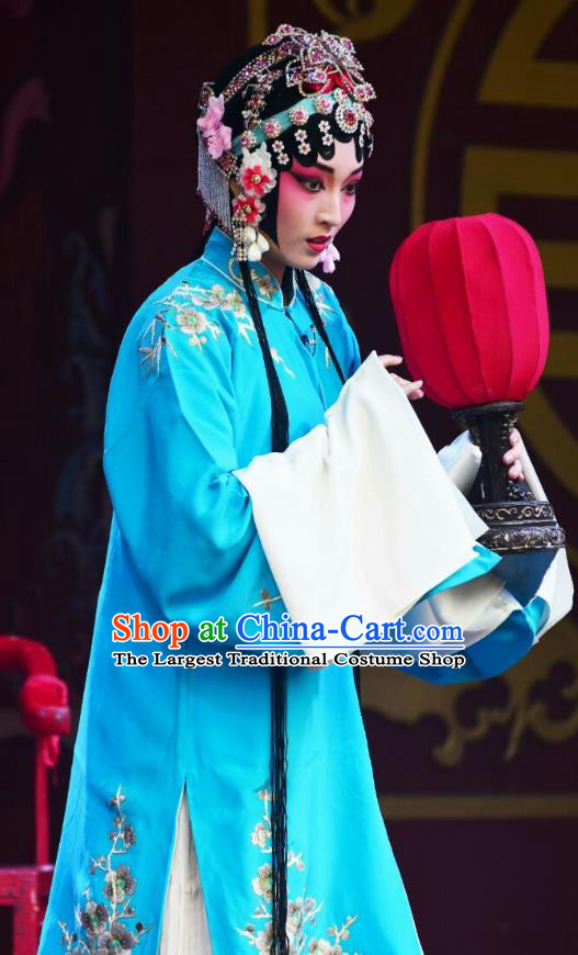 Chinese Kun Opera Actress Zhong Hua Blue Dress Costumes and Headdress Zhong Kui Jia Mei Traditional Kunqu Opera Hua Tan Garment Apparels
