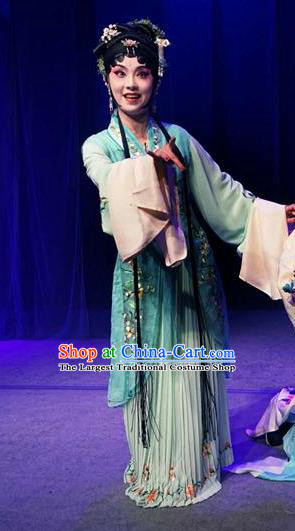 Chinese Kun Opera Young Lady Fairy Costumes Apparels and Headpieces Before The Fall Traditional Kunqu Opera Actress Luo Niang Dress Garment