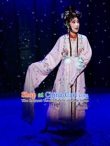 Chinese Kun Opera Actress Fairy Luo Niang Costumes Apparels and Headpieces Before The Fall Traditional Kunqu Opera Hua Tan Dress Young Female Garment