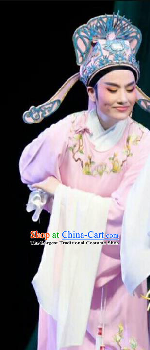 Chinese Shaoxing Opera Xiao Sheng Jiao Zhongqing Garment and Hat Yue Opera The Peacocks Fly To The Southeast Apparels Costumes Niche Pink Robe