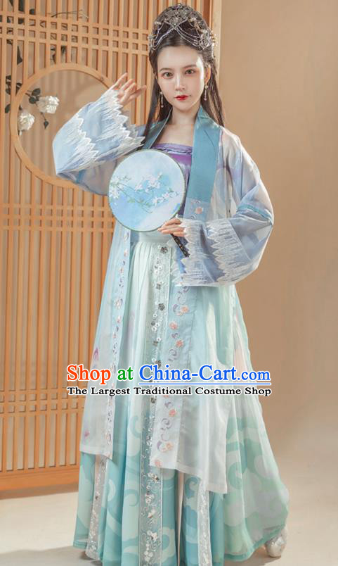 Ancient Chinese Song Dynasty Historical Costumes Traditional Young Woman Embroidered Hanfu Dress Complete Set