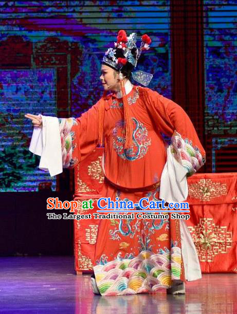 Chinese Shaoxing Opera Xiao Sheng Garment and Hat Yue Opera The Arrogant Princess Apparels Costumes Bridegroom Red Robe