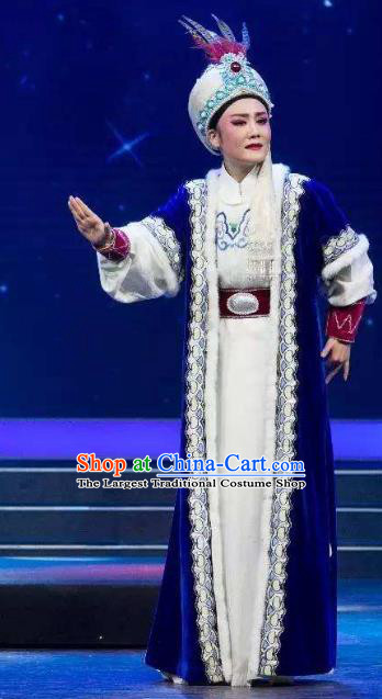 Chinese Shaoxing Opera Xiao Sheng Male Role Garment Classical Yue Opera Desert Prince Apparels Costumes and Headwear