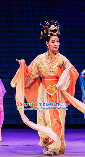 Chinese Huangmei Opera Elderly Sister Apparels Costumes and Headpieces Goddess Marriage Traditional Anhui Opera Actress Dress Garment