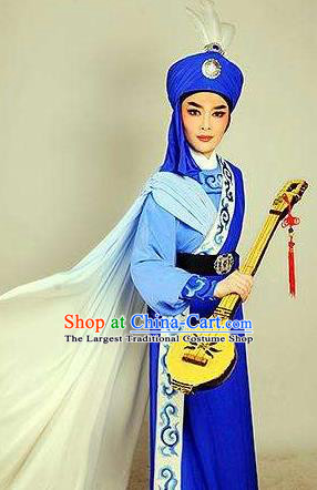 Chinese Shaoxing Opera Xiao Sheng Blue Garment and Hat Yue Opera Desert Prince Apparels Costumes Young Male Robe