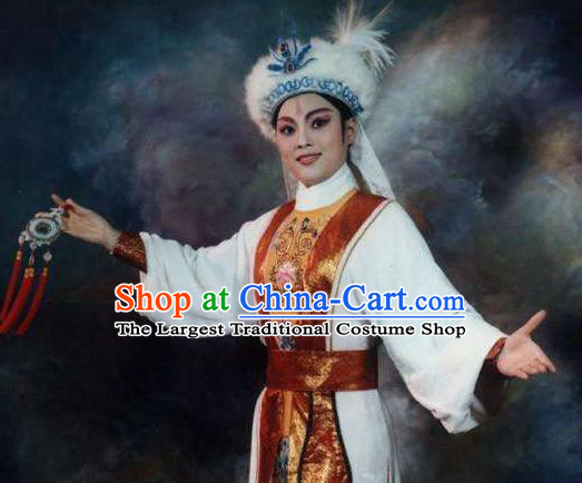Chinese Shaoxing Opera Male Garment and Hat Classical Yue Opera Desert Prince Luo Lan Apparels Xiao Sheng Nobility Childe Costumes