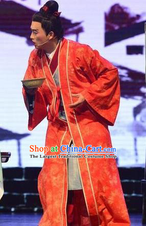 Chinese Huangmei Opera Xiaosheng Garment Taibai Drunk Costumes and Headwear An Hui Opera Young Male Wedding Apparels Clothing