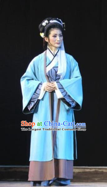 Chinese Huangmei Opera Young Mistress Garment Costumes and Headpieces Li Shizhen Traditional Anhui Opera Actress Dress Apparels