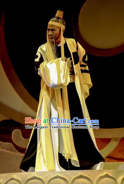 Chinese Huangmei Opera Taoist Priest Costumes and Headwear Li Shizhen An Hui Opera Laosheng Apparels Master Clothing