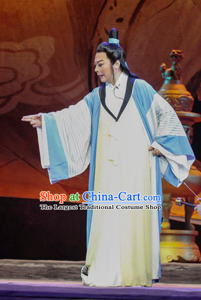 Chinese Huangmei Opera Scholar Costumes and Headwear Li Shizhen An Hui Opera Xiaosheng Apparels Young Man Clothing