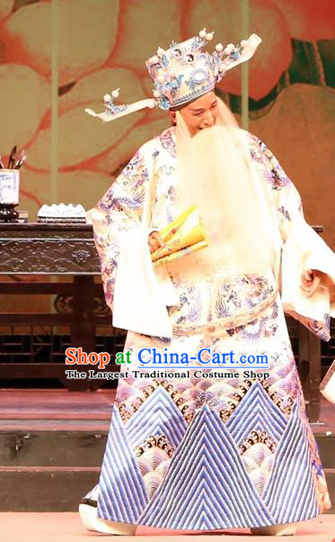 Chinese Huangmei Opera Prime Minister Female Consort Prince Garment Costumes and Headwear An Hui Opera Elderly Male Apparels Chancellor Liu Wenju Clothing