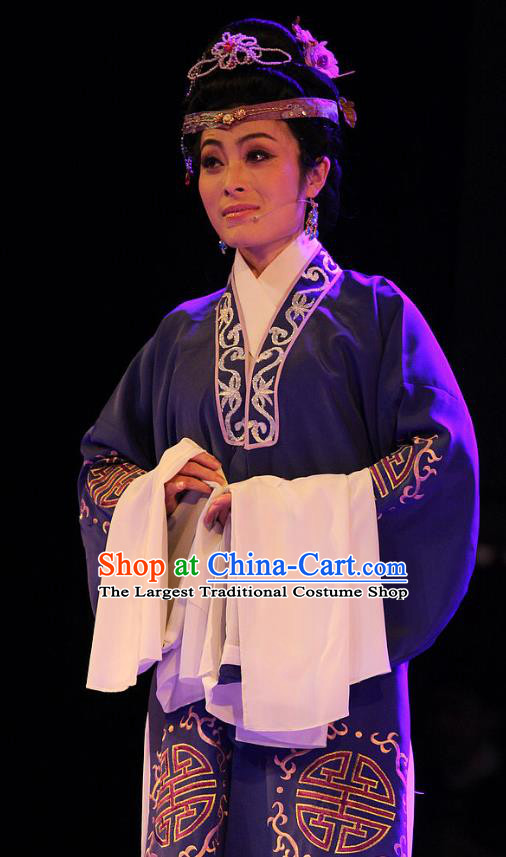Chinese Huangmei Opera Royal Dame Garment Costumes and Headdress True and False Groom Traditional Anhui Opera Elderly Female Dress Apparels