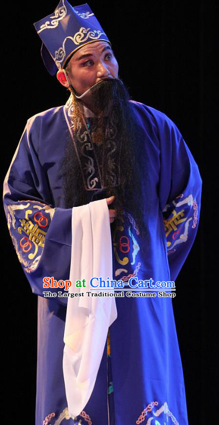 True and False Groom Chinese Huangmei Opera Laosheng Costumes and Headwear An Hui Opera Elderly Male Apparels Landlord Clothing