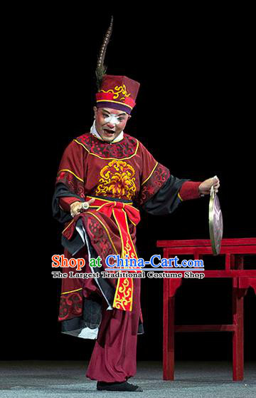 Luo Pa Ji Chinese Huangmei Opera Clown Male Costumes and Headwear An Hui Opera Chou Role Apparels Clothing