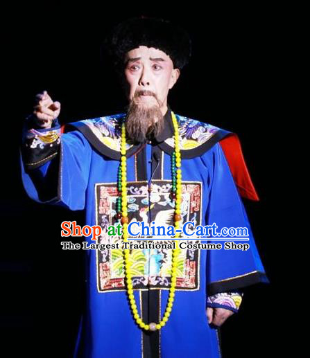 Chinese Huangmei Opera Elderly Male Costumes and Headwear An Hui Opera Tie Mian Jin Guangti Apparels Qing Dynasty Official Clothing