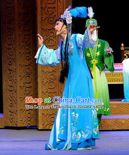 Chinese Shaoxing Opera Court Lady Blue Dress Desert Prince Yue Opera Garment Costumes Princess Consort Apparels and Headwear