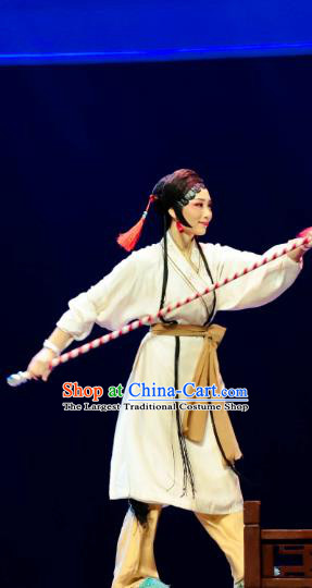 Chinese Huangmei Opera Swordsplay Female Garment Costumes and Headdress Ji Mo Han Qing Traditional Anhui Opera Swordswoman Dress Apparels