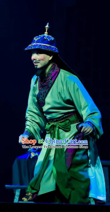 Chinese Huangmei Opera Takefu Ji Mo Han Qing Official Garment Costumes and Headwear An Hui Opera Soldier Apparels Clothing
