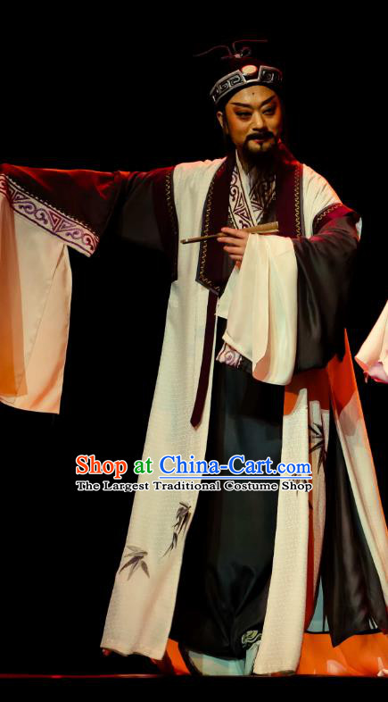 Chinese Huangmei Opera Old Man Ji Mo Han Qing Official Garment Costumes and Headwear An Hui Opera Scholat Guan Hanqing Apparels Clothing