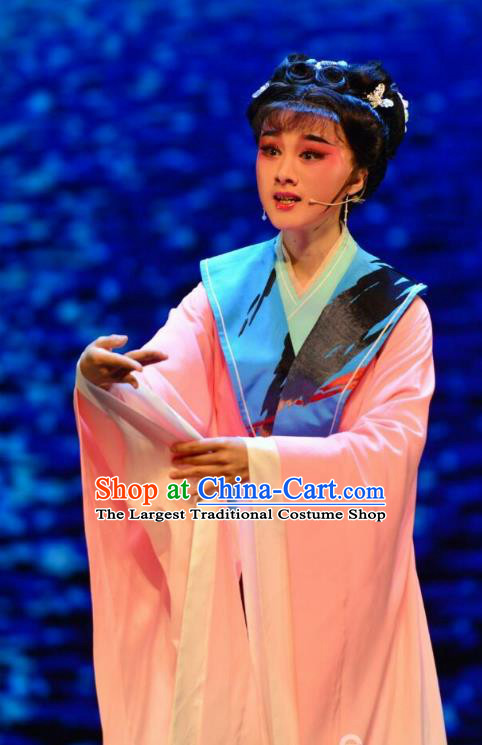 Chinese Huangmei Opera Young Lady Costumes and Headpieces Taibai Drunk Traditional Anhui Opera Princess Yu Zhen Dress Garment Apparels
