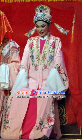 The Bridal Chamber Chinese Classical Shaoxing Opera Bridegroom Garment Yue Opera Xiao Sheng Apparels Young Male Costumes Pink Robe and Hat