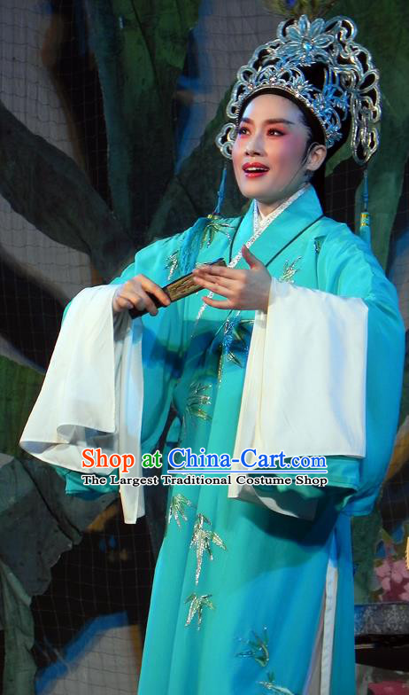 Chinese Classical Shaoxing Opera The Bridal Chamber Young Male Costumes Garment Yue Opera Apparels Xiao Sheng Embroidered Green Robe and Headwear