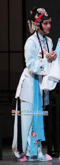 Chinese Shaoxing Opera Xiao Dan Young Lady Dress The Jade Hairpin Yue Opera Garment Costumes Maidservant Apparels and Headpieces