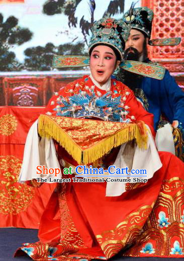 Chinese Classical Shaoxing Opera Number One Scholar The Jade Hairpin Wang Yulin Costumes Garment Yue Opera Apparels Young Male Garment and Hat
