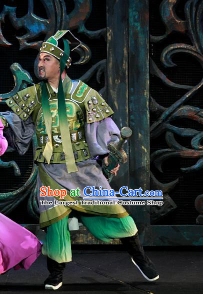 Chinese Huangmei Opera Martial Male Xiao Qiao Chu Jia Costumes and Headwear An Hui Opera General Apparels Armor Clothing