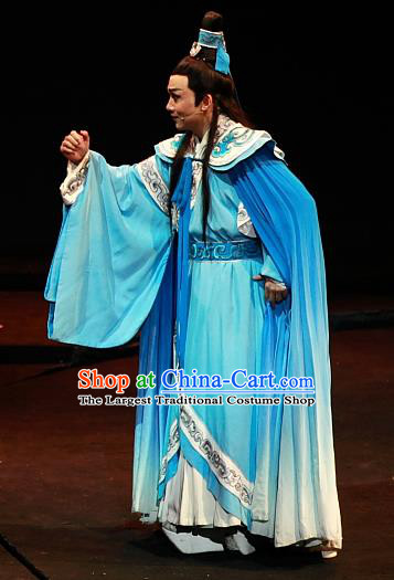 Chinese Huangmei Opera Xiaosheng Zhou Yu Xiao Qiao Chu Jia Costumes and Headwear An Hui Opera Young Male Apparels Niche Clothing