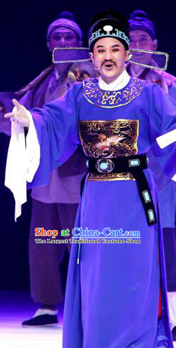 Chinese Huangmei Opera Magistrate Censor Lady Costumes and Headwear An Hui Opera Elderly Male Apparels Official Clothing