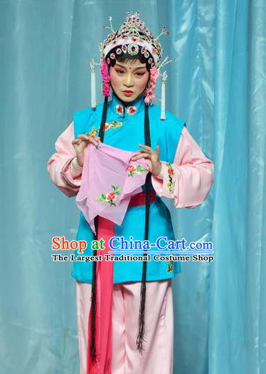 Chinese Shaoxing Opera Xiao Dan Dress The Jade Hairpin Yue Opera Actress Costumes Apparels Servant Girl Garment and Hair Ornaments