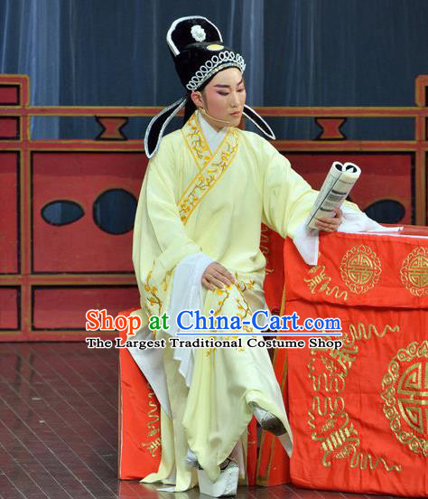 Chinese Classical Shaoxing Opera Scholar Wang Yulin Yellow Robe The Jade Hairpin Costumes Garment Yue Opera Young Man Garment Apparels and Hat