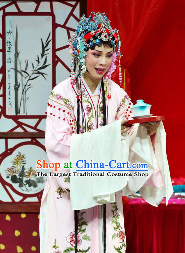 Chinese Shaoxing Opera Diva Pink Dress The Jade Hairpin Yue Opera Hua Tan Costumes Apparels Rich Mistress Garment and Hair Jewelry