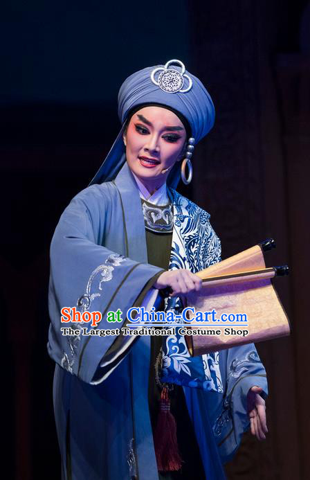 Chinese Shaoxing Opera Swordsman Blue Garment Classical Yue Opera Desert Prince Niche Luo Lan Apparels Young Male Costumes and Headpiece