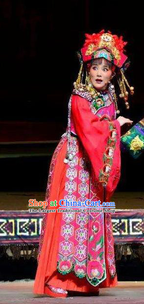 Chinese Huangmei Opera Tujia Nationality Bride Garment Costumes and Headdress Traditional Anhui Opera Actress Red Dress Apparels