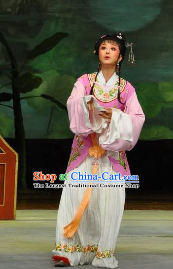 Chinese Shaoxing Opera Xiao Dan Dress Dream of the Red Chamber Yue Opera Actress Costumes Apparels Servant Girl Garment and Hair Accessories