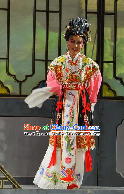 Chinese Shaoxing Opera Hua Tan Dress Dream of the Red Chamber Yue Opera Actress Costumes Noble Dame Wang Xifeng Garment Apparels and Headpieces