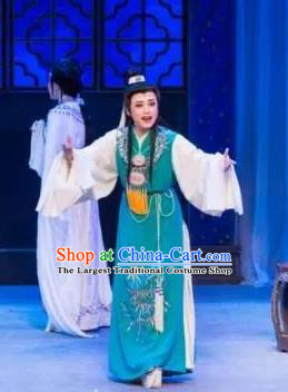 Chinese Classical Shaoxing Opera Dream of the Red Chamber Garment Costumes Yue Opera Young Male Liu Xianglian Blue Apparels and Hair Ornaments