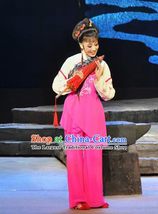 Chinese Huangmei Opera Garment Costumes and Headpieces Chun Jiang Yue Traditional Anhui Opera Young Lady Dress Apparels