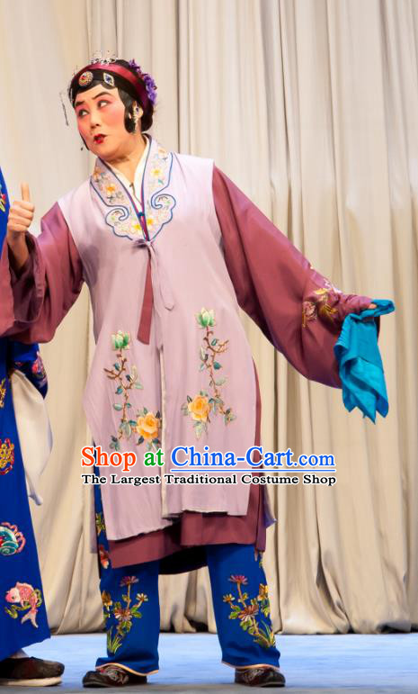 Chinese Ping Opera Geng Niang Costumes Elderly Female Apparels and Headpieces Traditional Pingju Opera Woman Matchmaker Dress Garment