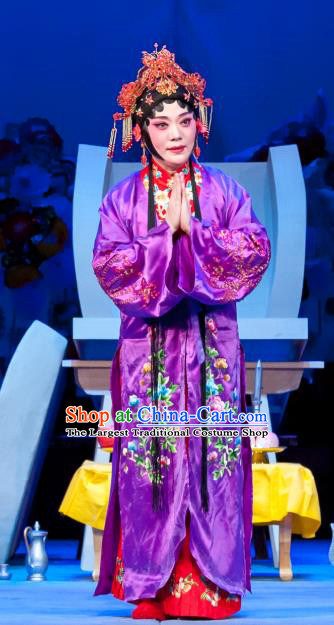 Chinese Ping Opera Actress Purple Garment Costumes and Headpieces Traditional Pingju Opera Geng Niang Hua Tan Dress Apparels