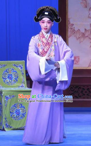 Zhu Hen Ji Chinese Ping Opera Young Male Costumes and Headwear Pingju Opera Xiaosheng Apparels Scholar Clothing