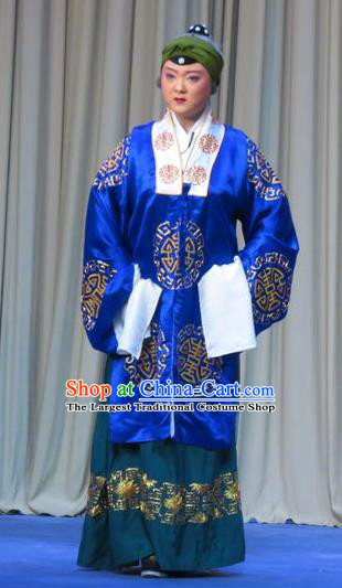 Chinese Ping Opera Laodan Zhu Hen Ji Apparels Costumes and Headdress Traditional Pingju Opera Elderly Female Pantaloon Dress Garment