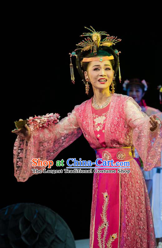 Chinese Huangmei Opera Diva Garment Costumes and Headpieces Dream of Red Mansions Traditional Anhui Opera Noble Female Rosy Dress Apparels