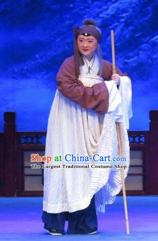 Chinese Ping Opera Old Woman Zhu Hen Ji Apparels Costumes and Headdress Traditional Pingju Opera Pantaloon Dress Elderly Female Garment