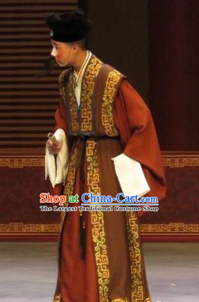 Zhen Zhu Shan Chinese Ping Opera Clown Costumes and Headwear Pingju Opera Ministry Councillor Apparels Clothing