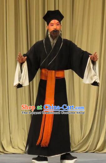 Zhen Zhu Shan Chinese Ping Opera Old Man Costumes and Headwear Pingju Opera Laosheng Apparels Clothing